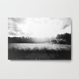 Sun Setting on a Field Metal Print