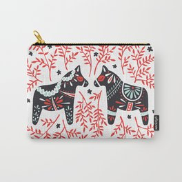 Swedish Dala Horses – Red and Black Palette Carry-All Pouch