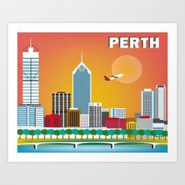 Perth, Australia - Skyline Illustration by Loose Petals Art Print