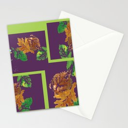 Leaf Painting in Plum and Lime Stationery Cards