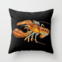 maine Throw Pillows featuring Maine Lobster by Tim Jeffs Art
