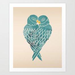 Love Birds (Blue) Art Print