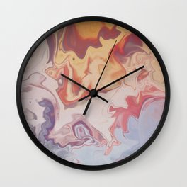 Abstract Pastel Color Liquid in Water Wall Clock