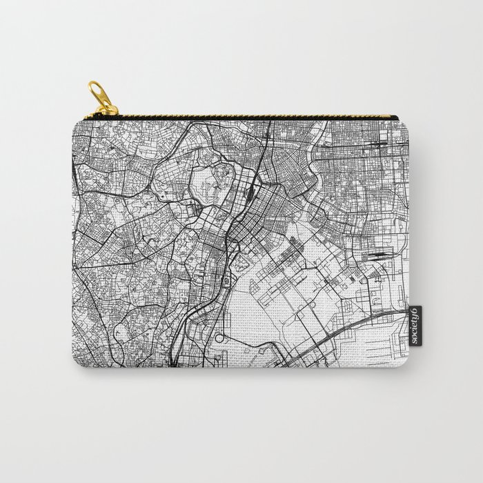 Tokyo White Map Carry-All Pouch