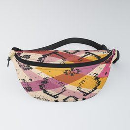 Snake skin texture. black magenta orange pink purple print Fanny Pack