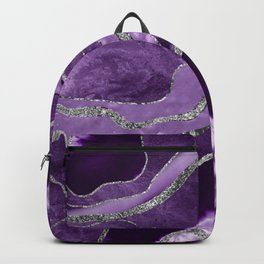 Purple Marble Agate Silver Glitter Glam #1 (Faux Glitter) #decor #art #society6 Backpack