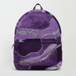 Purple Marble Agate Silver Glitter Glam #1 (Faux Glitter) #decor #art #society6 Backpack