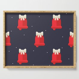 Red Christmas Bell Pattern Serving Tray