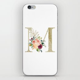 M Monogram Gold Foil Initial with Watercolor Flowers iPhone Skin