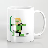 green arrow Mugs featuring Minimal Green Arrow by AinhoaGarcia