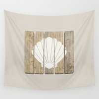 seashell Wall Tapestries featuring Seashell Clam by Alyn Spiller