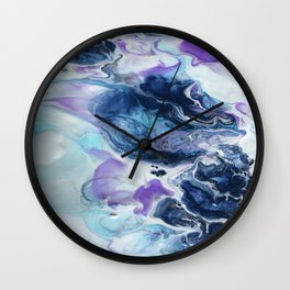 Navy Blue, Teal and Royal Purple Marble Wall Clock