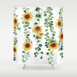 Eucalyptus and Sunflowers Garland  Shower Curtain