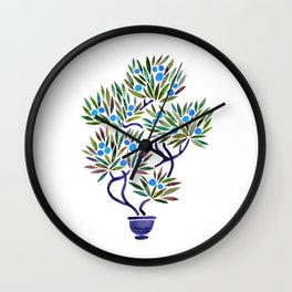Bonsai Fruit Tree – Blue Palette Wall Clock