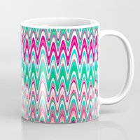 preppy Mugs featuring Making Waves Pink and Preppy by Shawn King