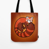 ferret Tote Bags featuring Fire Ferret by  terrorbunnystudios