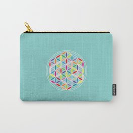 Flower of Life – Multicoloured on Blue Carry-All Pouch