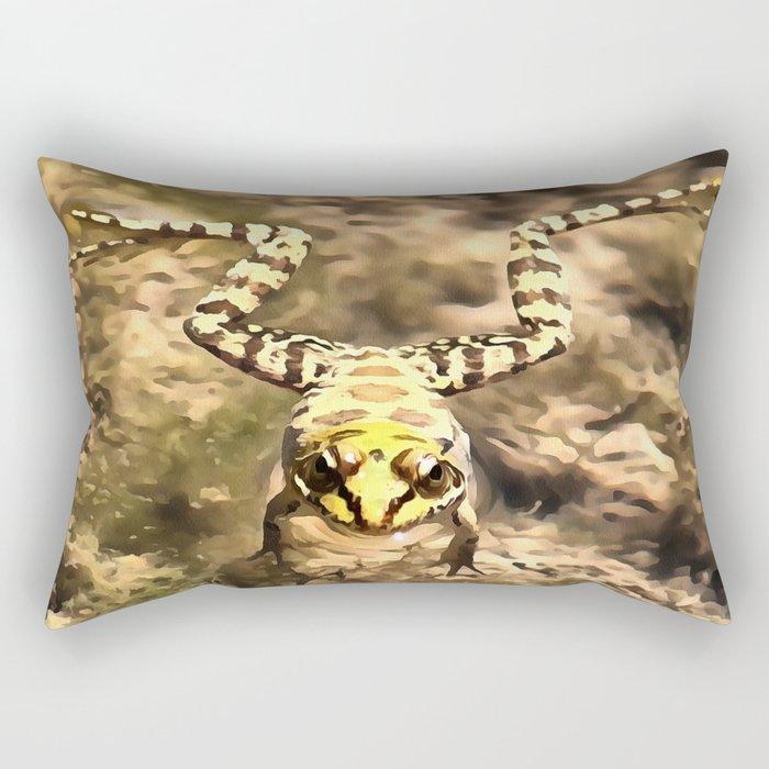 Swimming Frog Rectangular Pillow