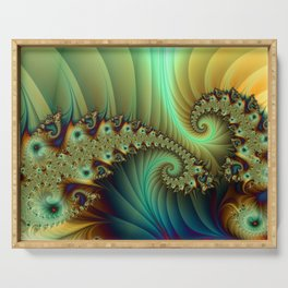 Another Secret Place Abstract Fractal Art Fantasy Serving Tray