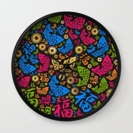 Chinese Lucky Symbols Pattern #2 Wall Clock