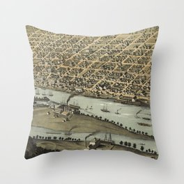 Vintage Pictorial Map of Saginaw Michigan (1867) Throw Pillow
