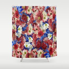 Red White Blue Flora Shower Curtain