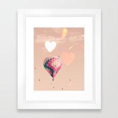 Hot air balloon nursery and heart bokeh on pale pink Framed Art Print