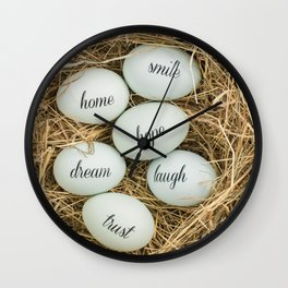 Eggs with messages Wall Clock