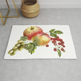 Fruit on a white background. Apples, red currants, grapes. Rug