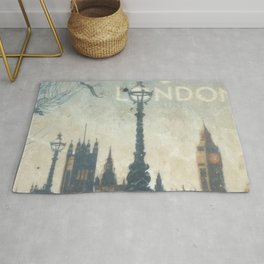 London Vintage skyline view of Westminster Abbey and Big Ben, painting from Victorian era Rug