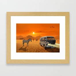 Africa Safari and stripes meeting Framed Art Print
