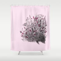 hedgehog Shower Curtains featuring Hedgehog by Linette No