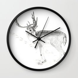 Winter Stag Wall Clock