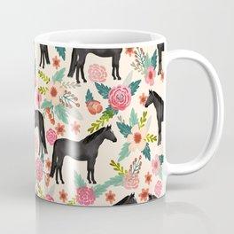 Black Horse Floral - cream, black beauty, horse, arabian horse, florals, floral, horse blanket, Coffee Mug