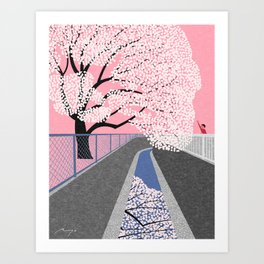 Cherry blossoms by canal Art Print