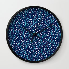 Berry Branches - Turquoise on Navy Wall Clock