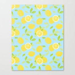Bright And Sunny And Stamped Lemon Citrus Pattern Canvas Print