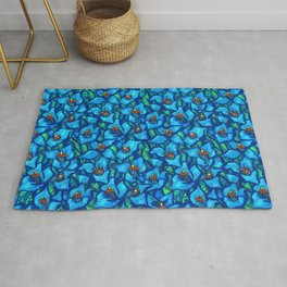 Blue Puya, Abstract Floral, Tropic Fowers Rug