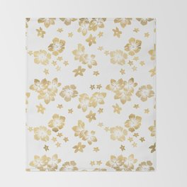 Gold Tropical Flowers Throw Blanket