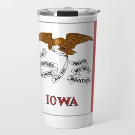Iowa Map with Iowan Flag Travel Mug