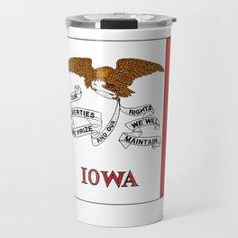 Iowa Map with Iowan Flag Travel Mug