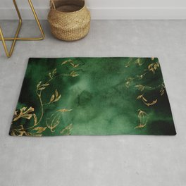 Winter Gold Flowers On Emerald Marble Texture Rug