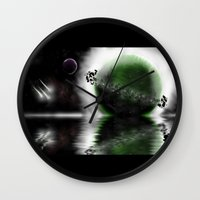 planets Wall Clocks featuring Planets by DebbieHughes