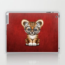 Cute Baby Tiger Cub Wearing Eye Glasses on Deep Red Laptop & iPad Skin