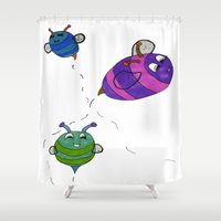 buzz lightyear Shower Curtains featuring Bees Go Buzz Buzz by Holly Lynn Clark