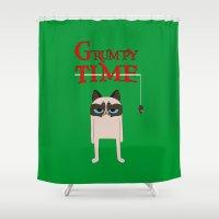grumpy Shower Curtains featuring Grumpy time (grumpy cat) by BomDesignz