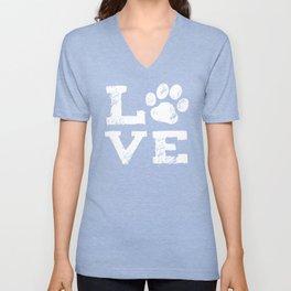 Love with Dog Paw Print Unisex V-Neck