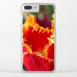 Tulip - Red with Ruffles Clear iPhone Case