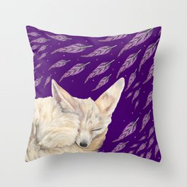 Fennec Fox Feather Dreams in Purple Grape Throw Pillow
