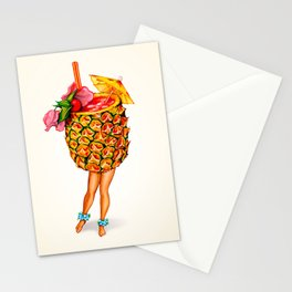 Tiki Cocktail Pin-Up - Pineapple Stationery Cards